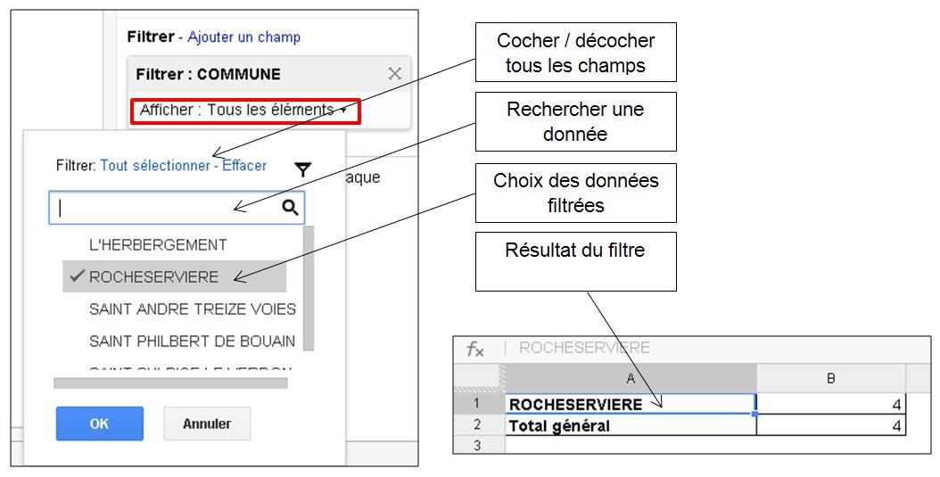 Tableaux croises dynamiques Google Drive - Filtrer les données