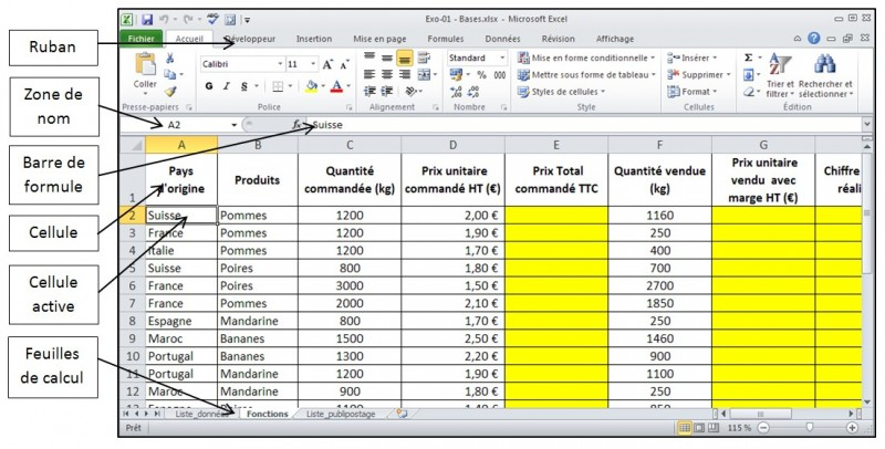 Excel 2010 - Les bases - interface