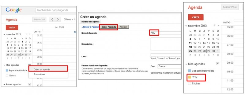 Google formulaire agenda - creer un agenda