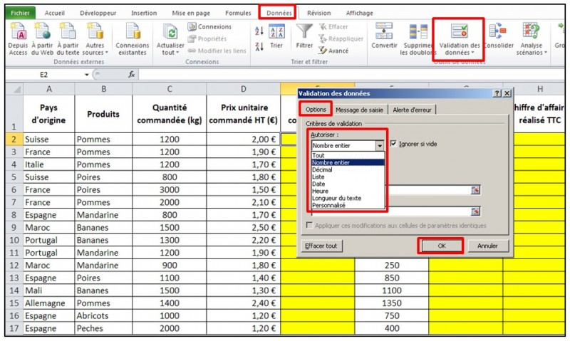 Excel 2010 - Validation de donnees - autoriser seulement un type de nombre