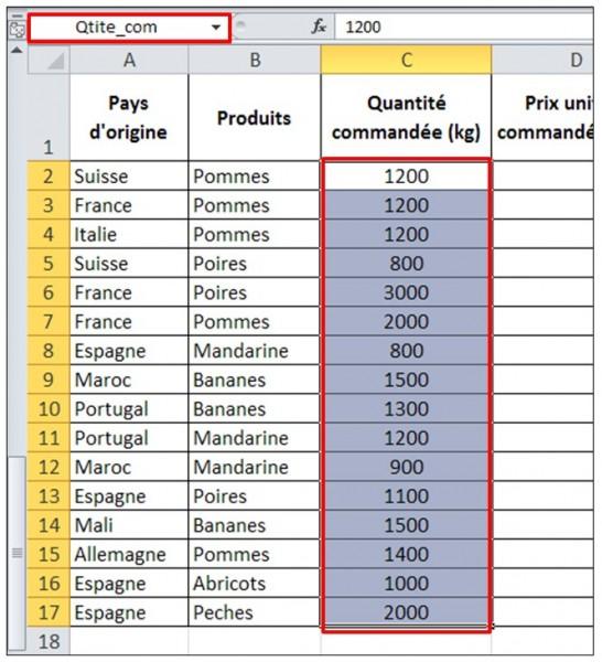 Excel 2010 - formules et fonctions - attribuer un nom