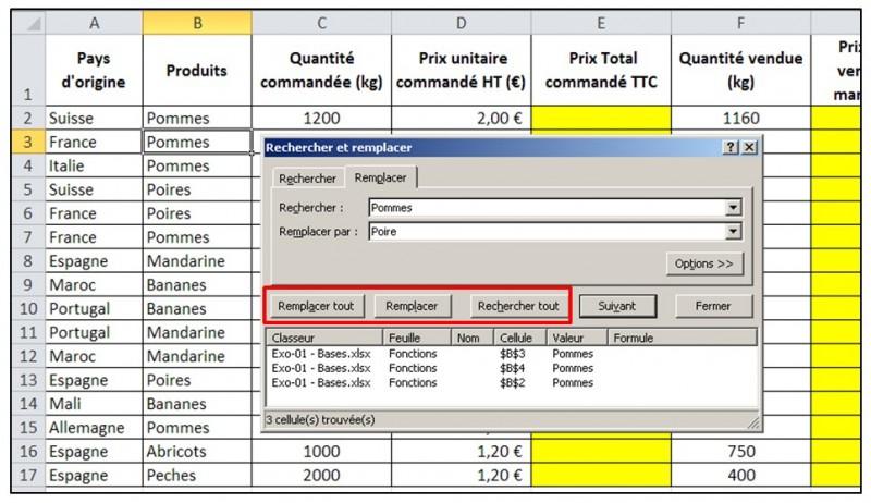 Excel 2010 - Les bases - fonction remplacer