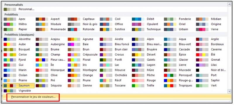 Publisher 2010 - personnaliser un jeu de couleurs