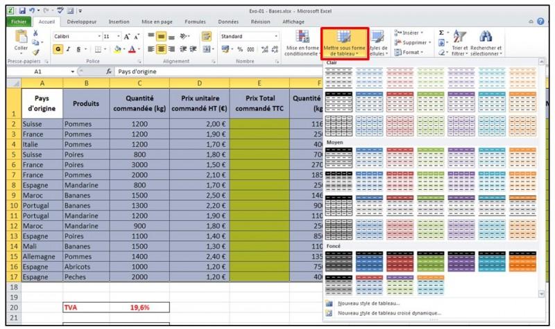 Excel 2010 - Les bases - mise sous forme de tableau