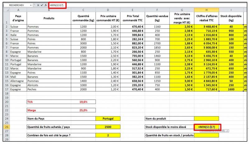 Excel 2010 - formules et fonctions - fonction MIN MAX