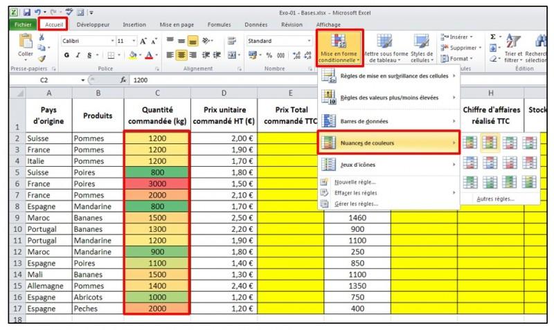 Excel 2010 - Les bases - mise en forme conditionnelle