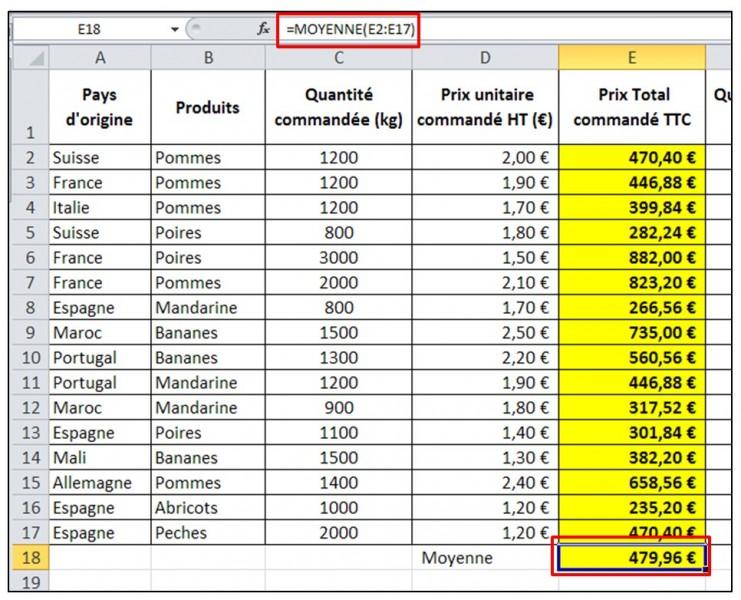 Excel 2010 - formules et fonctions - fonction MOYENNE