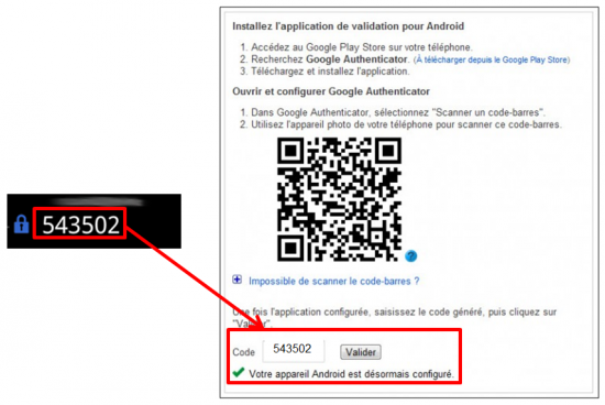Terminer la validation en 2 étapes
