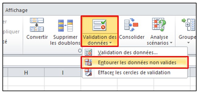 Excel 2010 - Validation de donnees - entourer les donnees non valides
