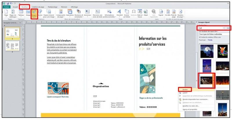 Publisher 2010 - ajouter une image clipart