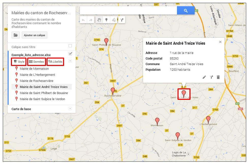 creer une carte google map a partir d une liste adresse - visuel de la carte avec les reperes
