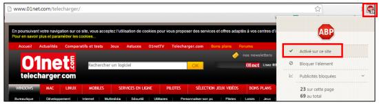 Désactiver l'extension pour un site sous Chrome