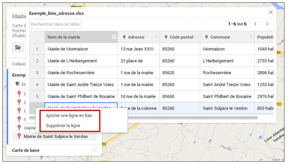 creer une carte google map a partir d une liste adresse - modifier les reperes