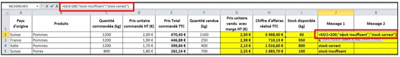 Excel 2010 - formules et fonctions - fonction SI