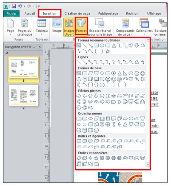 Publisher 2010 - inserer une forme