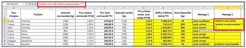 Excel 2010 - formules et fonctions - fonction ET