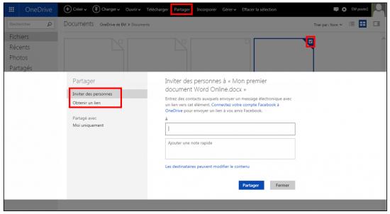 Partager un fichier sur OneDrive