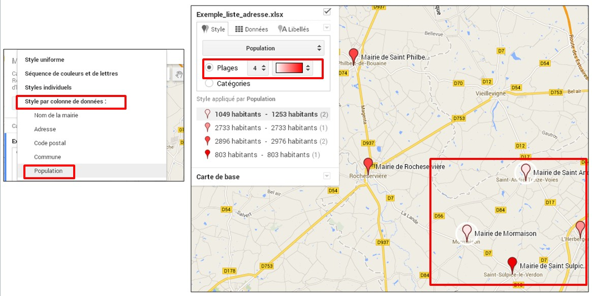 creer une carte google map a partir d une liste adresse - creer un style individuel par plage