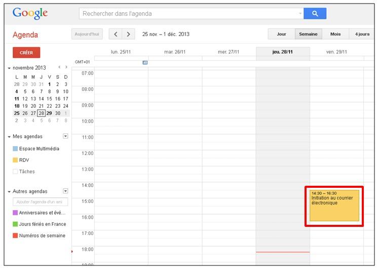 Google formulaire agenda - visualiser l evenement dans l agenda