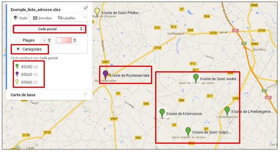creer une carte google map a partir d une liste adresse - creer un style individuel par categorie