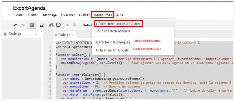 Google formulaire agenda - creer un declencheur du script