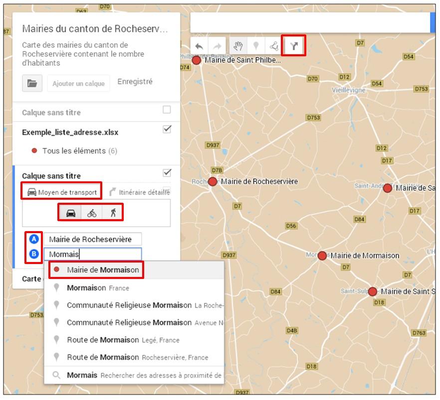 creer une carte google map a partir d une liste adresse - creer un itineraire
