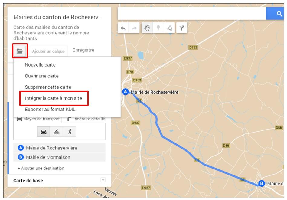 creer une carte google map a partir d une liste adresse - integrer la carte sur un site web