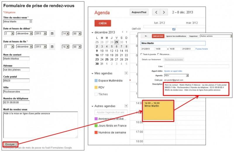 Google formulaire agenda - remplir automatiquement un agenda Google depuis un formulaire Google