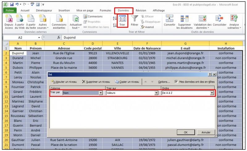 Publipostage avec Word et Excel 2010 - trier les donnees