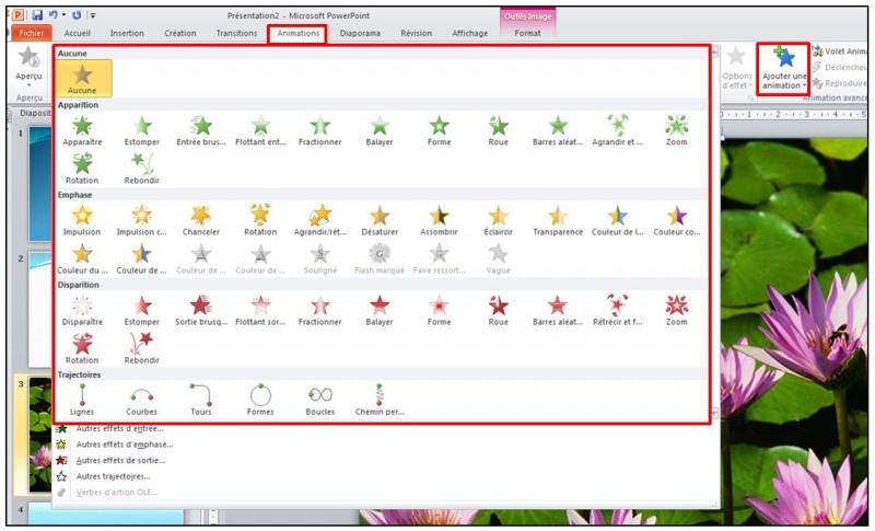 PowerPoint 2010 - objets graphiques et effets d animation - appliquer un effet d animation