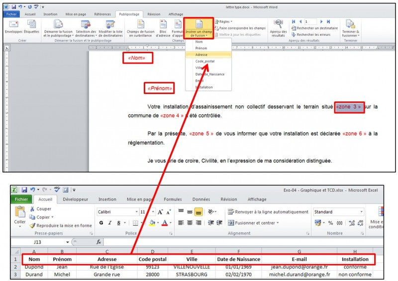 Publipostage avec Word et Excel 2010 - inserer des champs de fusion