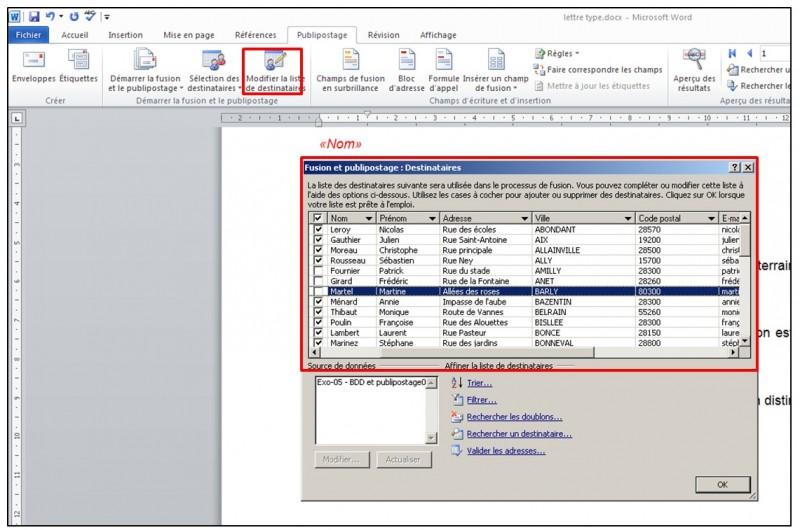 Publipostage avec Word et Excel 2010 - modifier la liste des destinataires