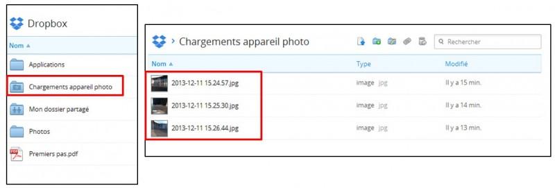 synchroniser ses photos smartphone tablette pc avec Dropbox - visualiser ses photos en ligne sur Dropbox