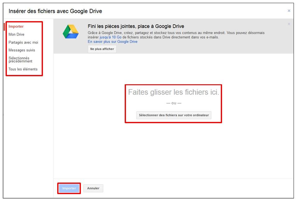 02 - Gmail envoyer des pieces jointes volumineuses avec Google Drive - importer des fichiers sur Google Drive