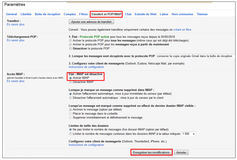02 - Sauvegarder sa messagerie Gmail avec Gmail Backup - parametrer Gmail en IMAP