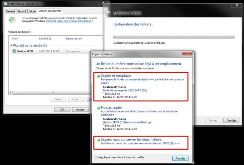 03 - Recuperer la version precedente d un document - choix du fichier a restaurer