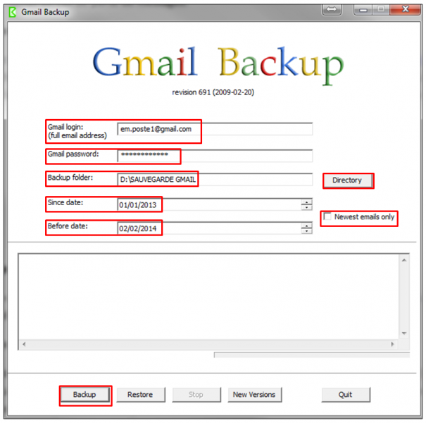 04 - Sauvegarder sa messagerie Gmail avec Gmail Backup - parametrer Gmail backup