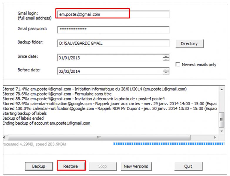 05 - Sauvegarder sa messagerie Gmail avec Gmail Backup - restaurer ses mail avec Gmail backup