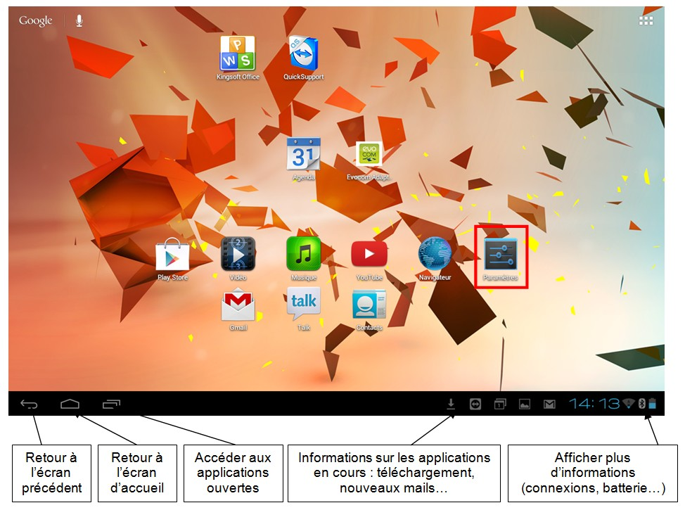 Decouverte et utilisation des tablettes tactiles Android - l interface