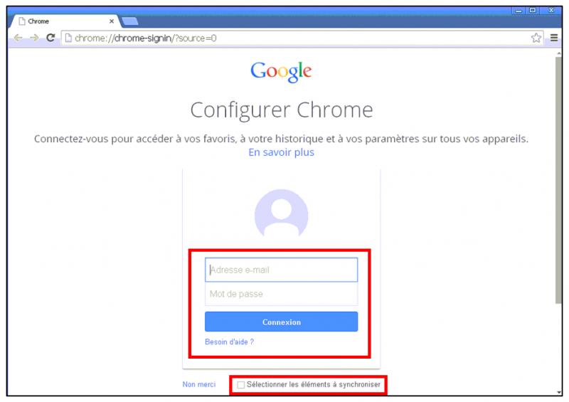 Utiliser le navigateur Google Chrome - connecter son compte Google a Chrome