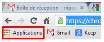 Utiliser les applications sur Google Chrome - icone des applications Google