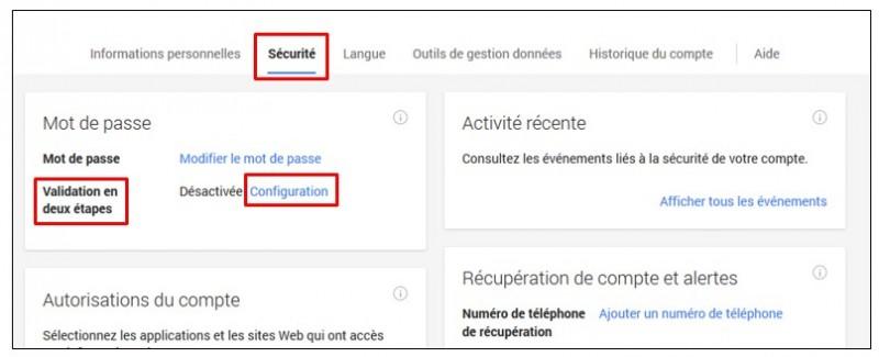 securiser son compte Google avec la validation en 2 etapes - acceder a la page de configuration