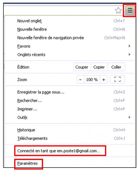 Utiliser le navigateur Google Chrome - acces aux parametres de synchronisation avances