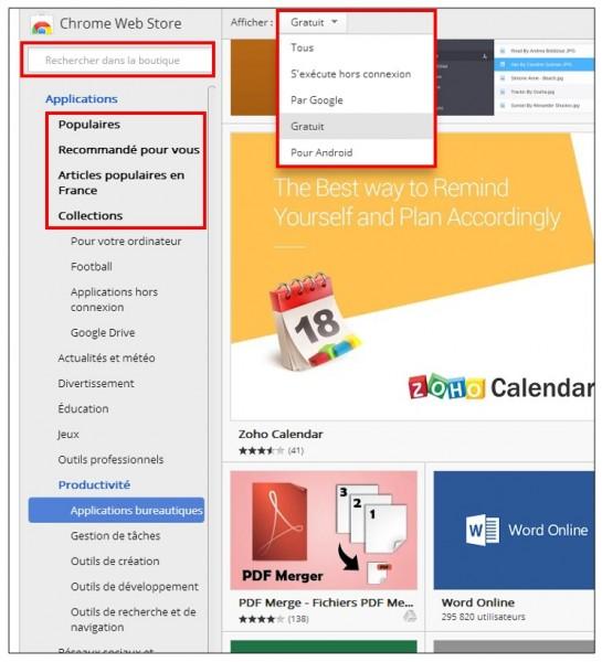 Utiliser les applications sur Google Chrome - Chrome web store