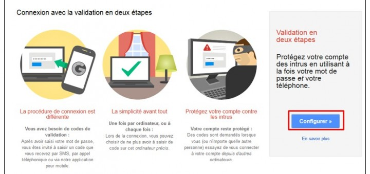 securiser son compte Google avec la validation en 2 etapes - configurer la double validation