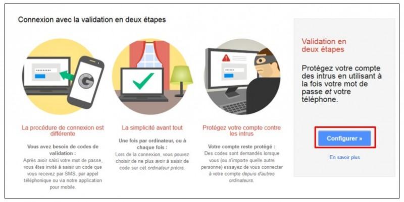 securiser son compte Google avec la validation en 2 etapes - configurer la double validation
