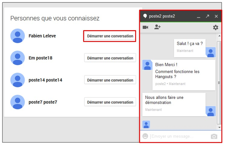 creer une video conference avec Google Hangouts - demarrer une conversation hangouts