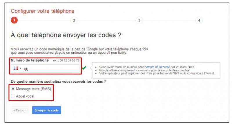 securiser son compte Google avec la validation en 2 etapes - configurer le telephone