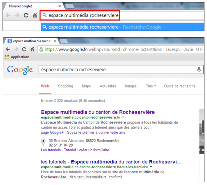 Utiliser le navigateur Google Chrome - effectuer des recherches depuis la barre d adresse