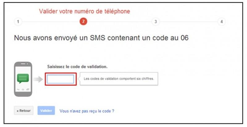 securiser son compte Google avec la validation en 2 etapes - confirmer le code de validation